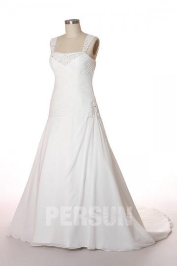 Robe de mariée grande taille Ligne A bustier drapé avec bretelles brodées de sequins