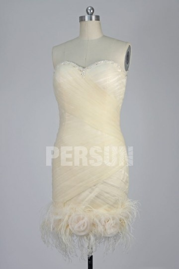 Mini Robe de mariée colonne en tulle ruchée décolletée en coeur