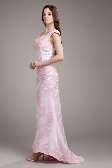 robe de mariée col v sirène appliques bi-couleur en satin