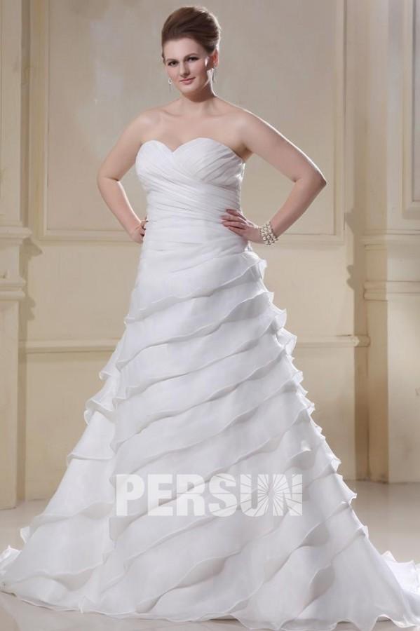 Robe de mariée grande taille princesse décolleté en coeur laçage ...