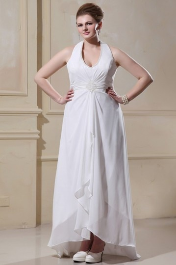 Robe de mariée grande taille empire ornée des strass col américain en Mousseline