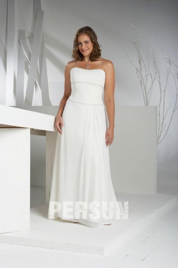 robe de mari e plage grande taille bustier simple perles en mousseline de soie. Black Bedroom Furniture Sets. Home Design Ideas