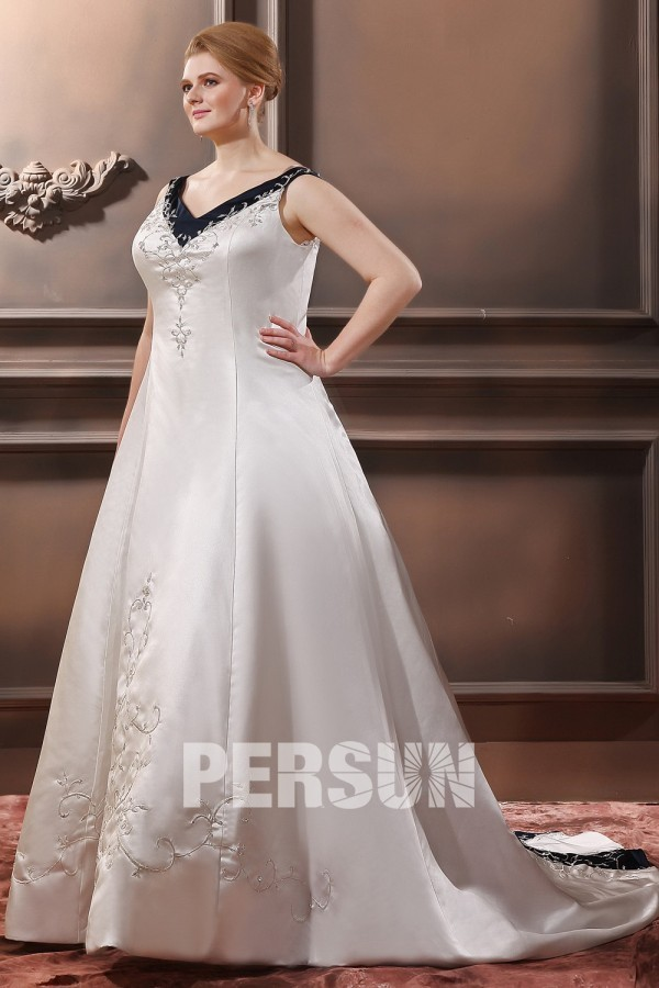 robe de mari e grande taille encolure en v bustier ruban paillet en satin avec broderie. Black Bedroom Furniture Sets. Home Design Ideas