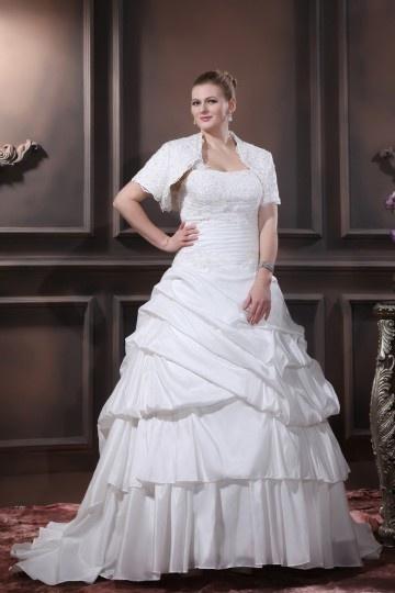 Robe mariée grande taille princesse Ligne A décolleté en cœur ruchée seule épaule en taffetas