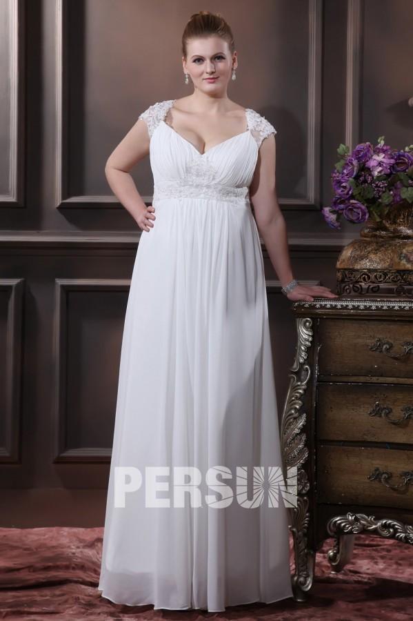 robe de mari e grande taille empire ligne a col en v appliques dentelle en mousseline de soie. Black Bedroom Furniture Sets. Home Design Ideas