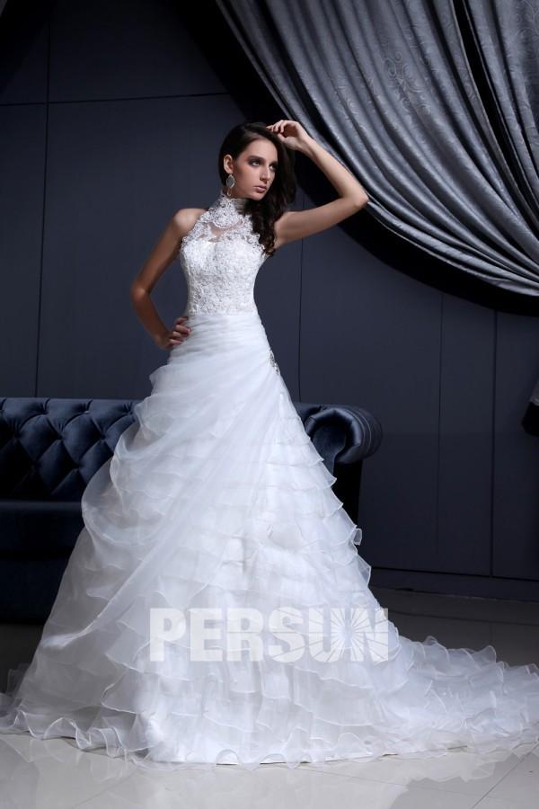 Robe de mariée moderne encolure ras de cou en organza & dentelle ...