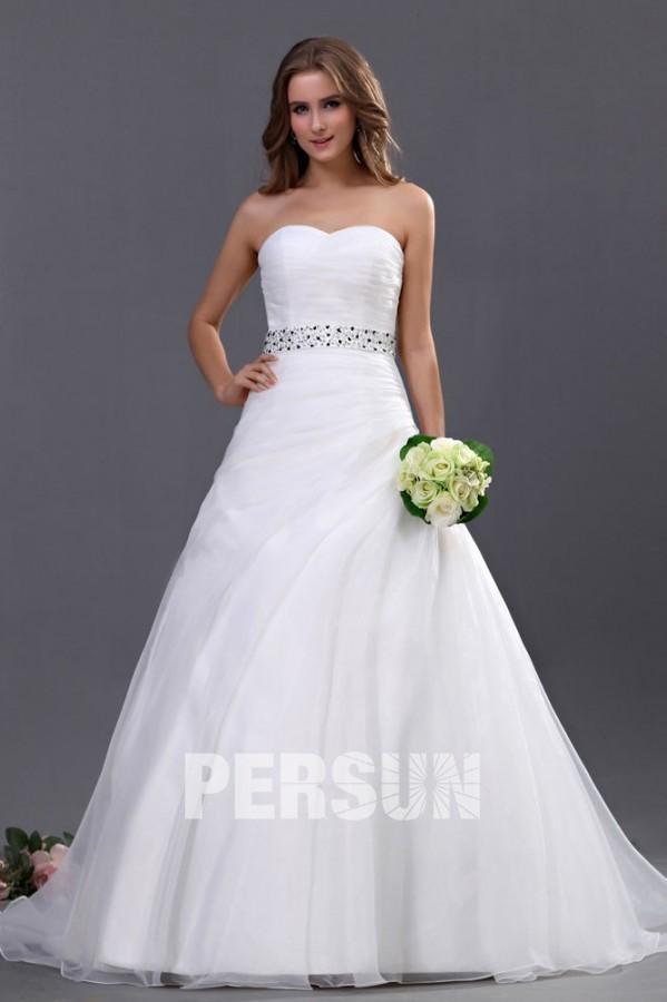Fabuleux Robe de mariée simple décolleté en cœur sans bretelle ornée de  VR88