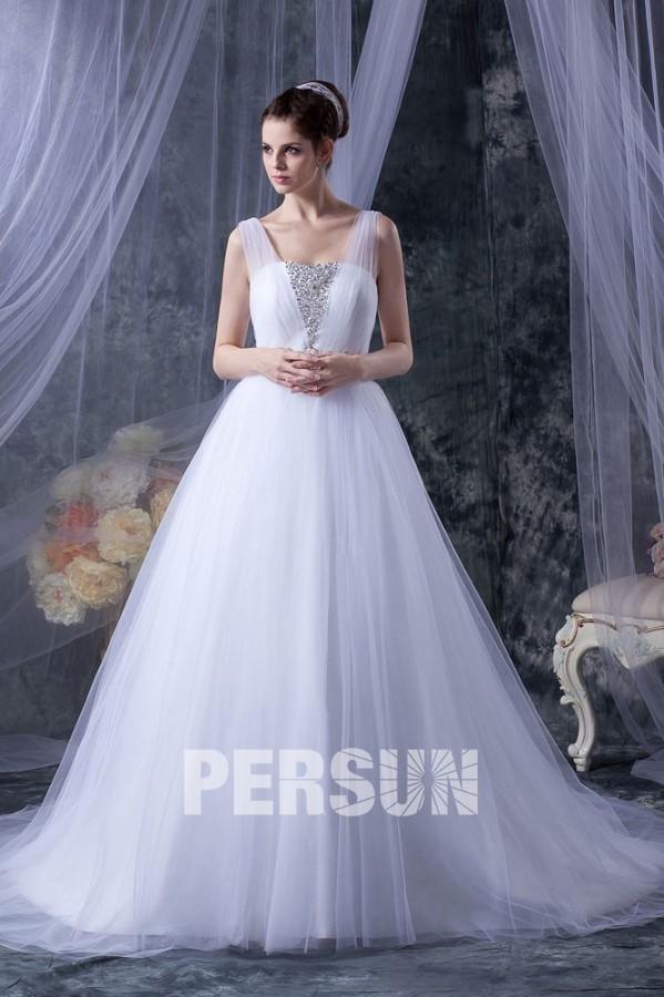 Bien connu Robe de mariage princesse décoleeté carré avec bretelle en tulle  NI22
