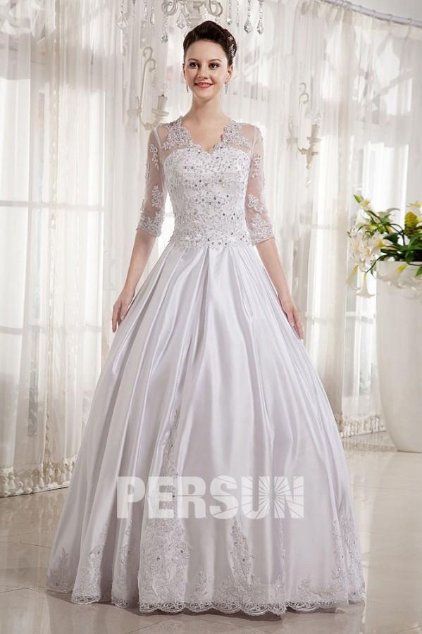 Robe de mariée princesse décolleté en V avec manche au coude en ...