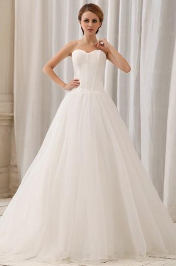 Robe de mariée simple décolleté en cœur sans bretelle Ligne A en organza