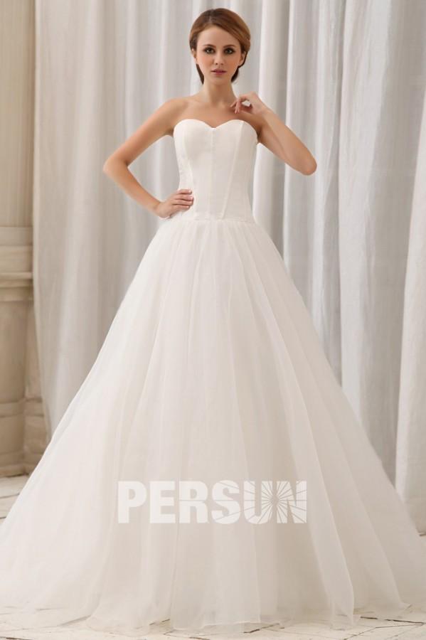 Robe de mariée simple décolleté en cœur sans bretelle Ligne A en ...