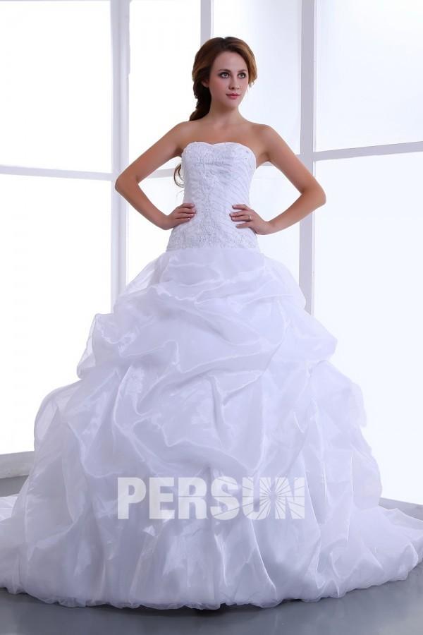 Fabuleux Robe de mariée princesse bustier cœur en organza en promotion -30  VR88