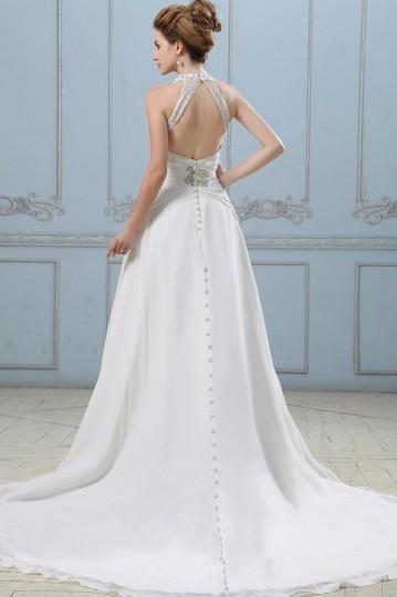 Robe de mariée sexy en mousseline dos nu décolleté en V