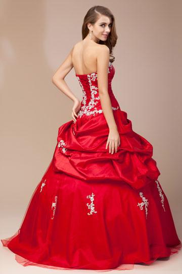 robe rouge mari e bustier c ur orn e de fleur et dapplique. Black Bedroom Furniture Sets. Home Design Ideas