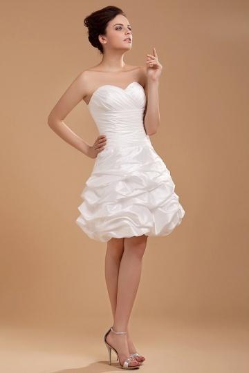 Mini Robe de mariée bustier coeur ruchée en taffetas