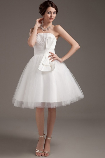 Mini robe de mariée simple bustier en tulle Empire