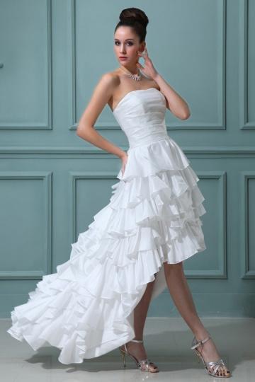 Robe de mariée bustier à volant en taffetas