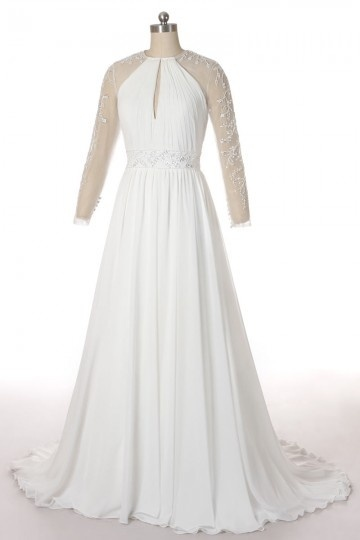 Robe mariée décolleté goutte d'eau avec manches transparentes perlées