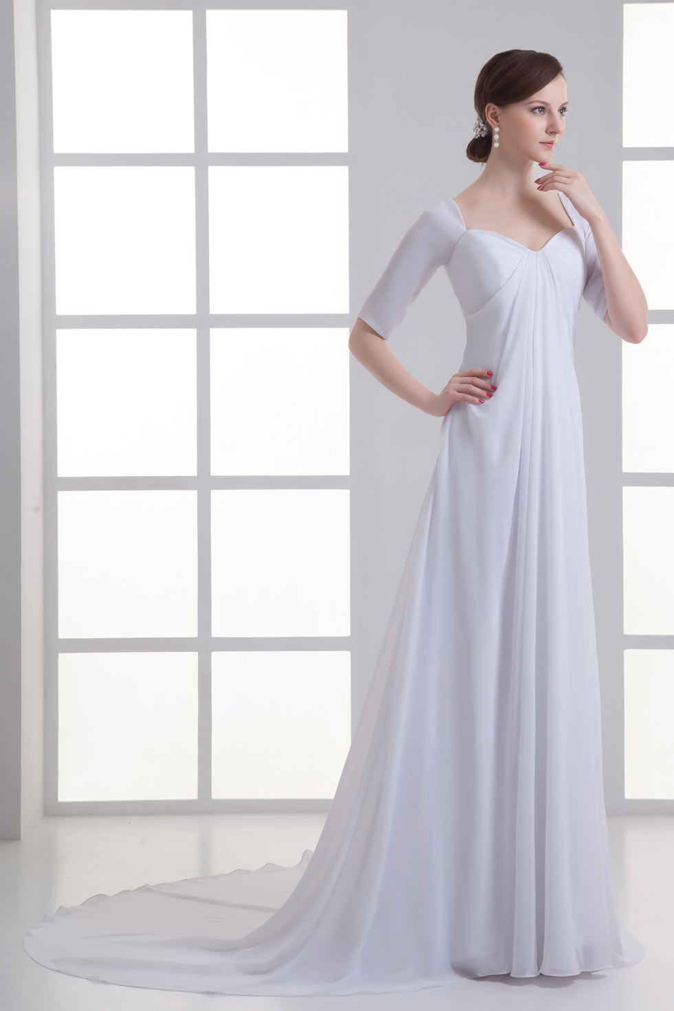 ... Robe de mariée 2015 Robe de mariée empire simple à manche mi-longue