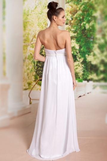 robe grossesse pour mariage ou soir e blanche bustier droit empire. Black Bedroom Furniture Sets. Home Design Ideas