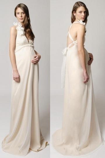 Robe chic pour mariée enceinte mousseline encolure plongeante dos nu