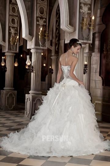 Robe chic de mariée volants princesse à bustier cœur