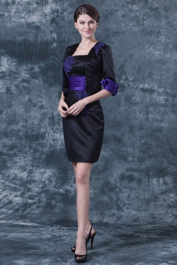 Robe de soirée courte bicolore décolleté carré en satin
