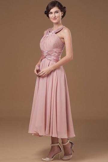 Robe pour mère de mariée pastèque encolure ronde plis ornée de paillettes