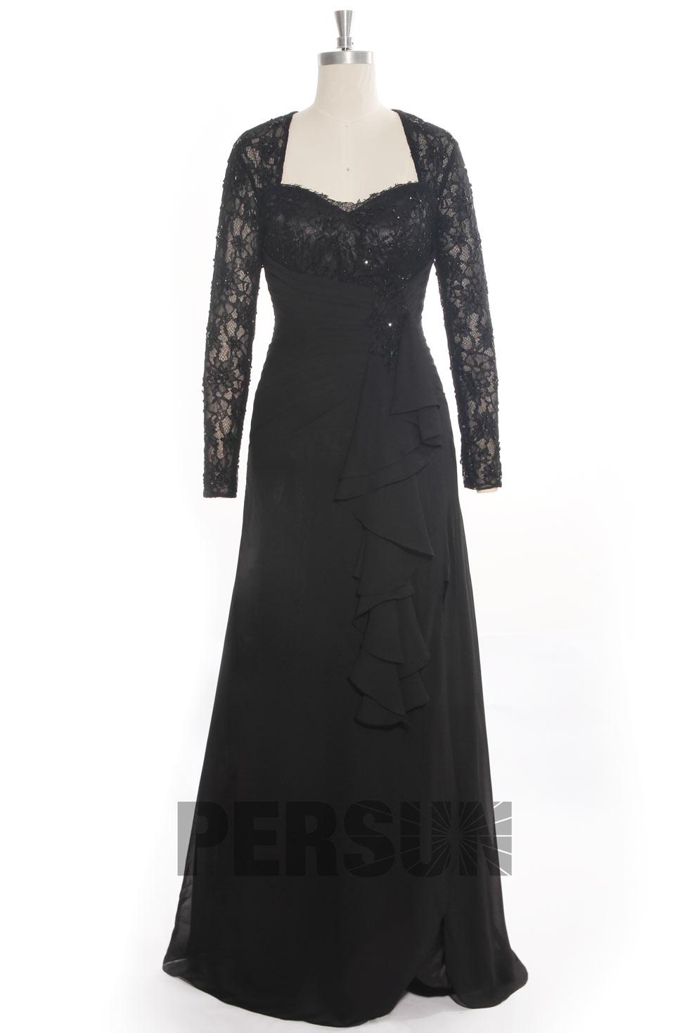 robe noire de soir e manches dentelles avec fente lat rale. Black Bedroom Furniture Sets. Home Design Ideas