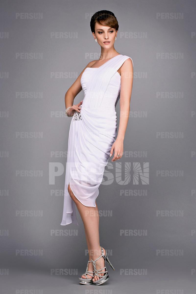 robe-epaule-asymetrique-blanche-avec-drape