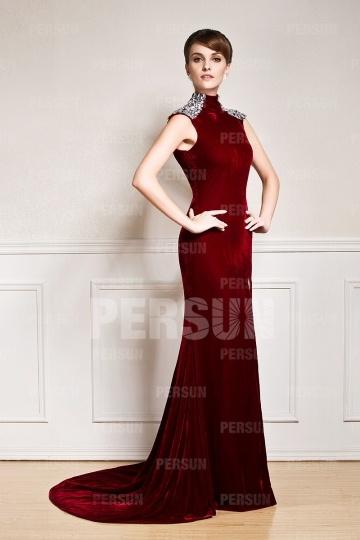 Sexy robe de soirée fendue en velours ornée de strass aux épaules