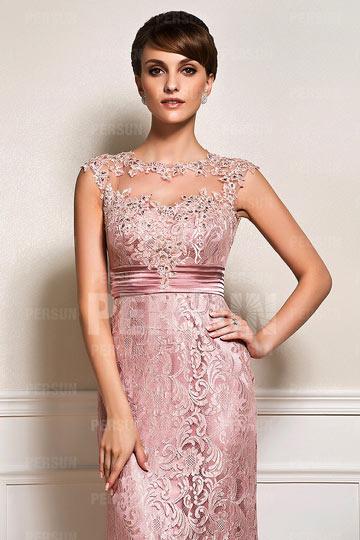Chic robe m re de mari e en dentelle for La couleur rose pale