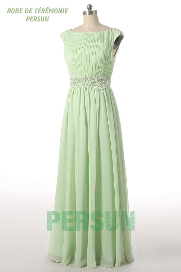 Robe de cérémonie longue verte pastel haut délicatement plissé