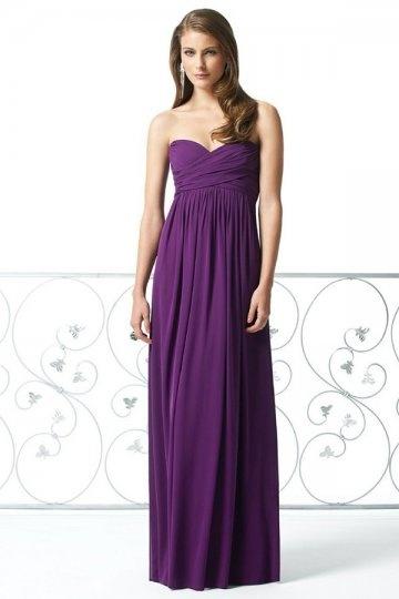 Robe demoiselle d'honneur violette bustier coeur ruchée longue élégante au sol