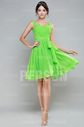 Robe demoiselle d'honneur verte à A-ligne ruchée longue aux genoux avec bretelle
