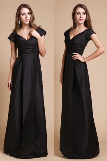 Robe noire longue à mancherons col V pour mariage