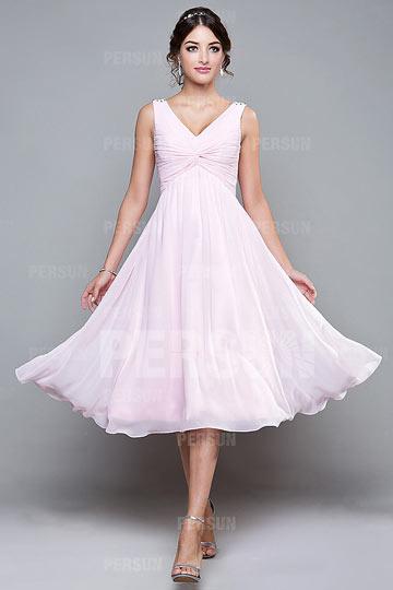 robe-demoiselle-dhonneur-col-en-v-ruchee-courte-au-genou-en-mousseline-ligne