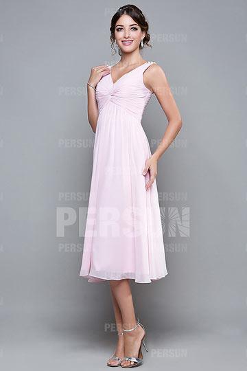 robe-courte-de-soiree-rose-col-v