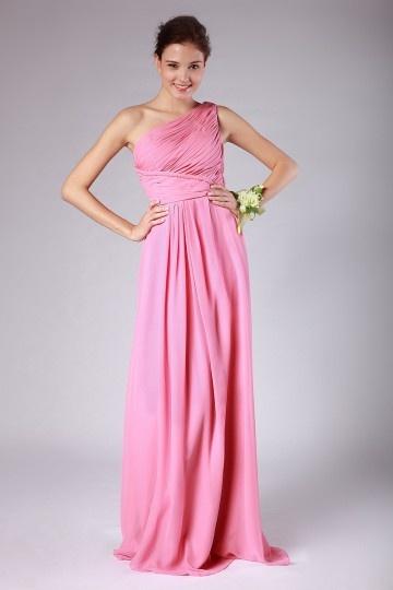 Robe rose demoiselles d'honneur longue seule épaule en mousseline