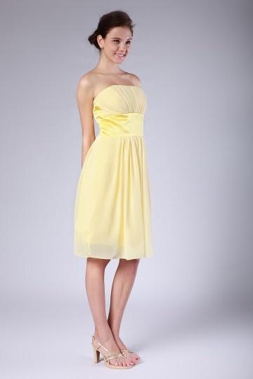 robe jaune bustier ruban demoiselles dhonneur pliss e en mousseline. Black Bedroom Furniture Sets. Home Design Ideas