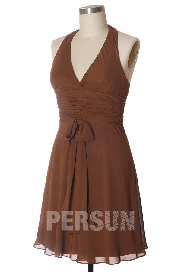 Robe brune courte pour cortège de mariage