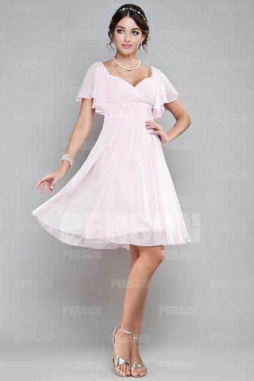 Robe demoiselle d'honneur empire courte genou en mousseline rose à mancheron volants