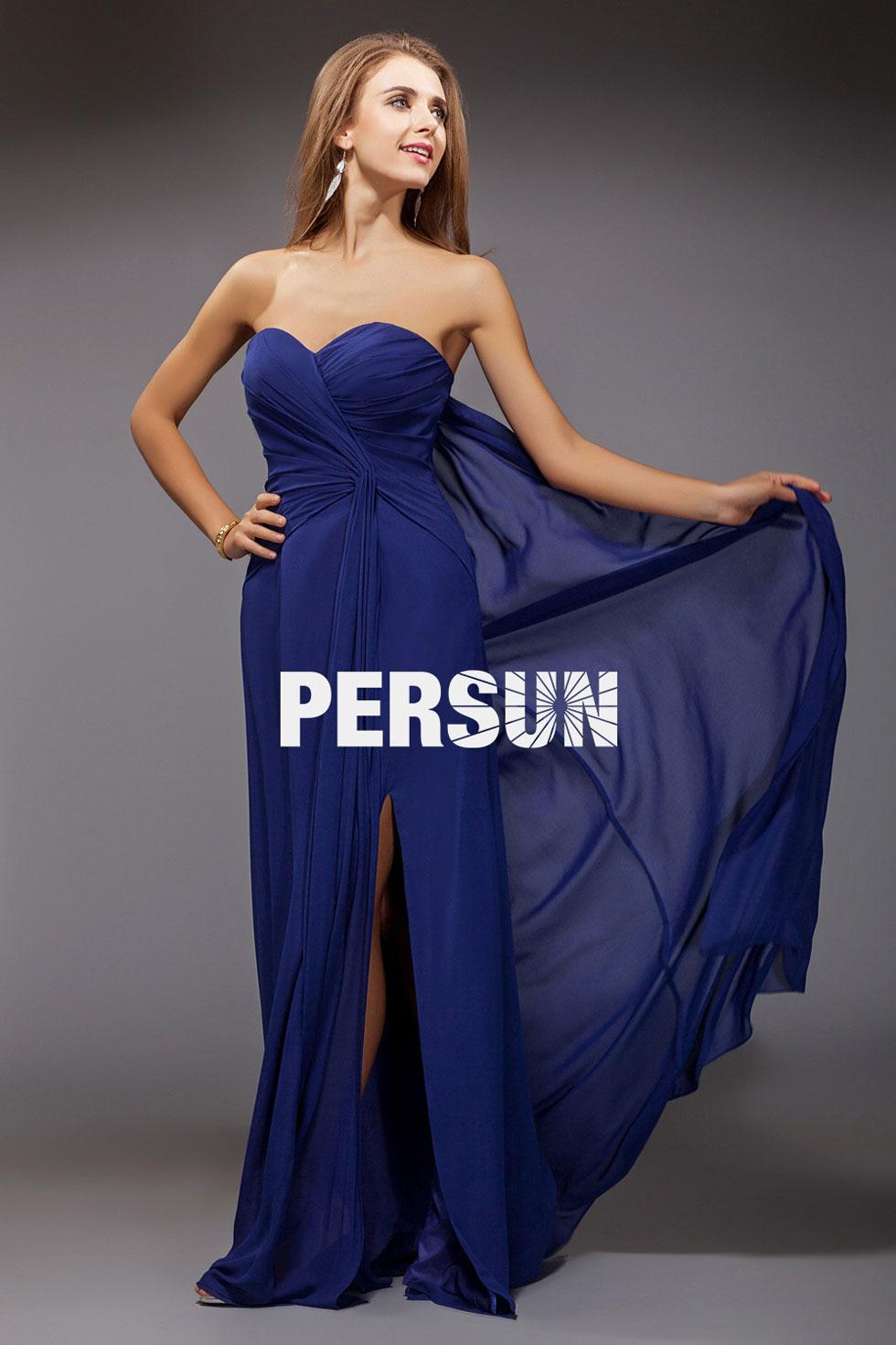 robe bleu bustier c ur avec fente lat rale. Black Bedroom Furniture Sets. Home Design Ideas
