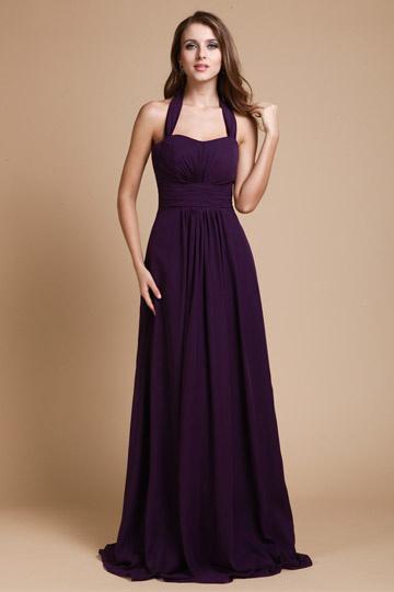 Robe longue violette encolure américain simple en mousseline