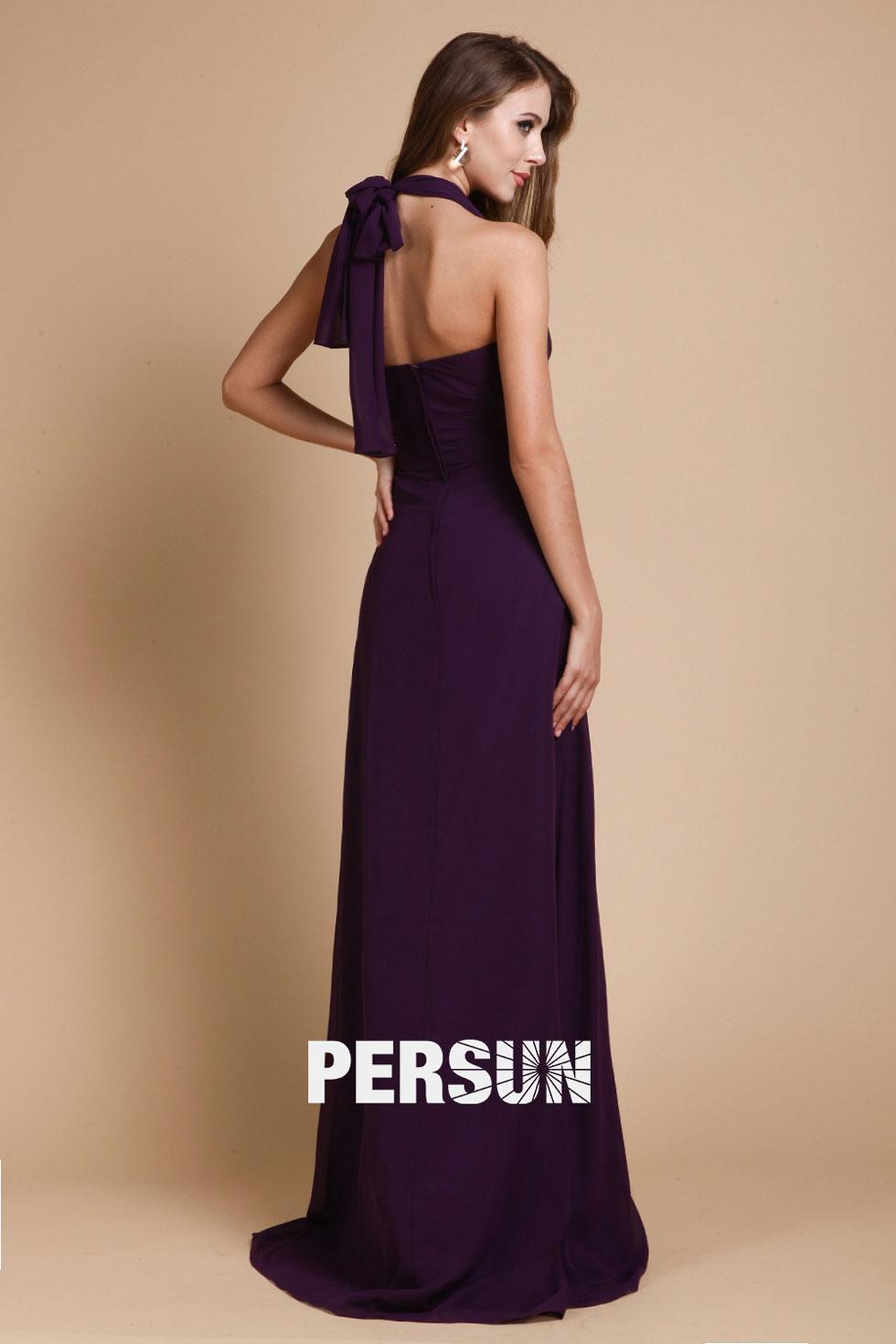 robe aubergine à style simple en mousseline