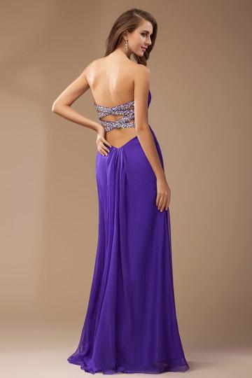 Robe soirée longue violette décolleté cœur en mousseline