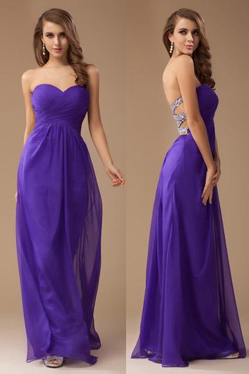 Robe violette longue Empire bustier cœur en mousseline