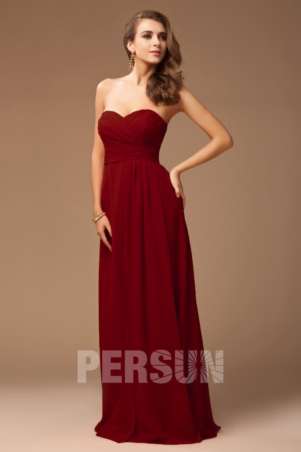 robe rouge bordeaux longue bustier coeur