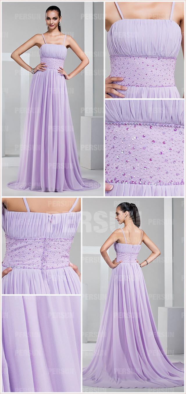 robe lilas demoiselle d'honneur avec bretelle fine