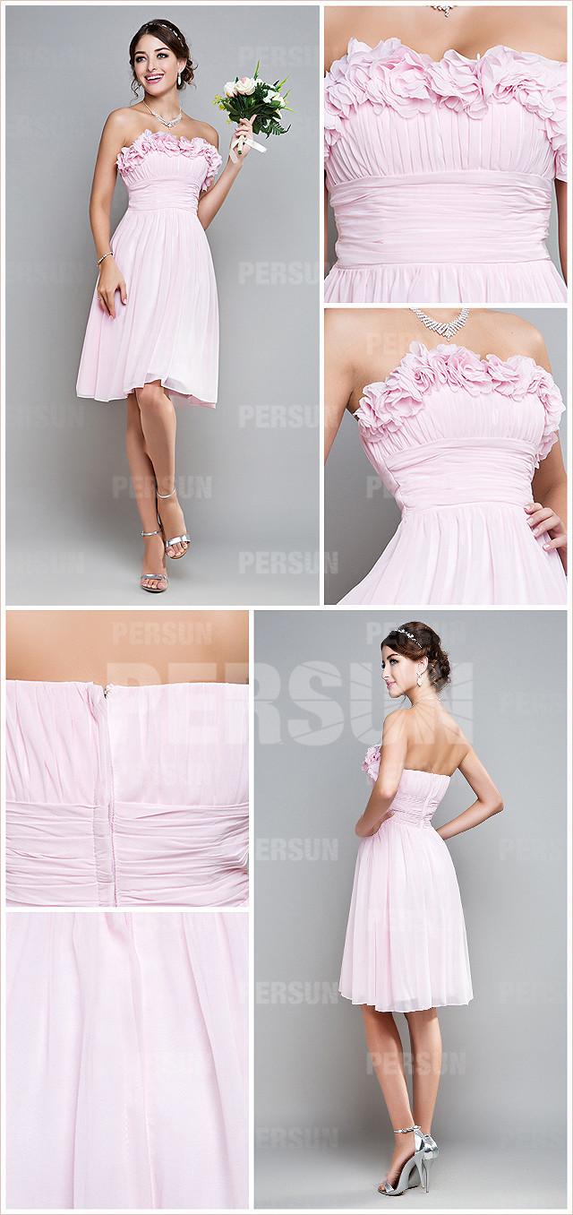 petite robe rose pour mariage ruchée